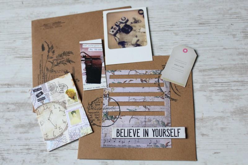 Karten Kraft Einschubfach - Believe in yourself-Opened