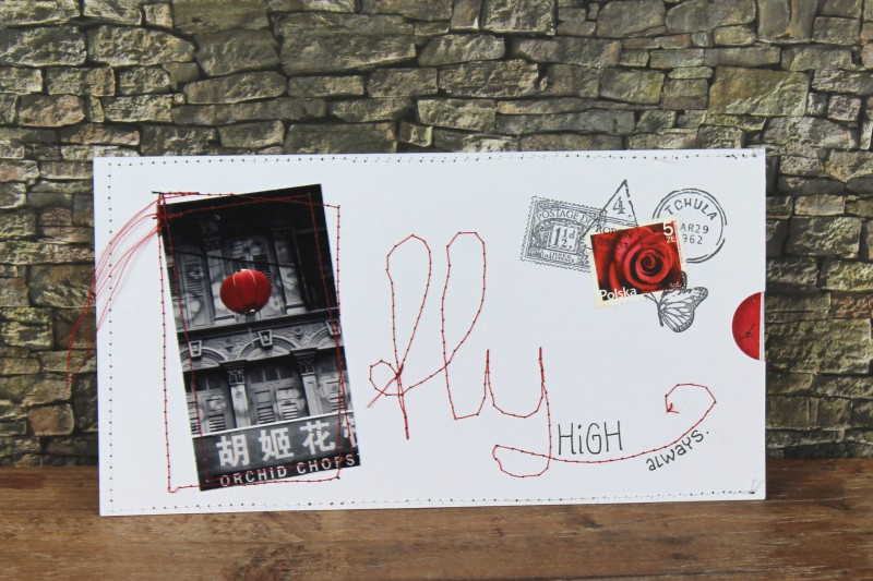 Karten genaeht BW-red mit Inlay-Fly High1