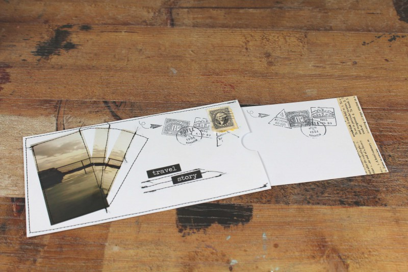 Karten genaeht blau Sepia travel story