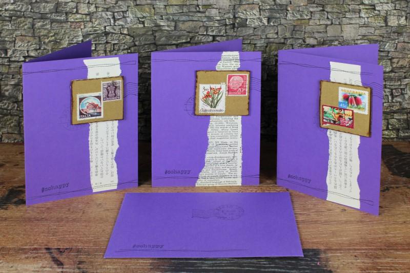Karten violett Karton Briefmarken-1