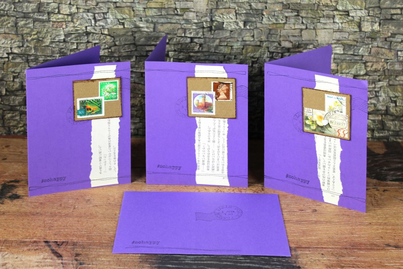 Karten violett Karton Briefmarken-2