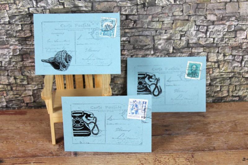 Mini Envelopes blue postal style-1