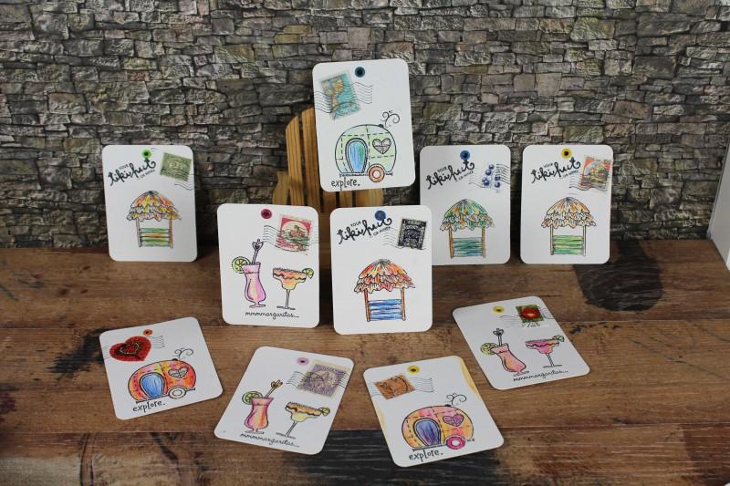 PL Cards stamped colored Tiki Caravan Cocktails-1