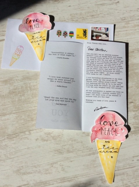 Paperclips Icecream with letter-inside letter