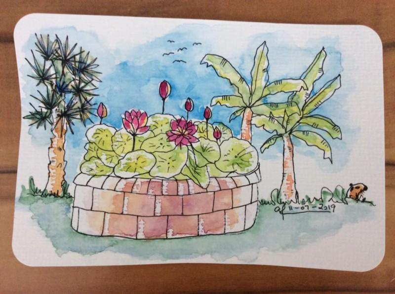 Sketching Blumengaerten Hirschstetten-1-Postcard