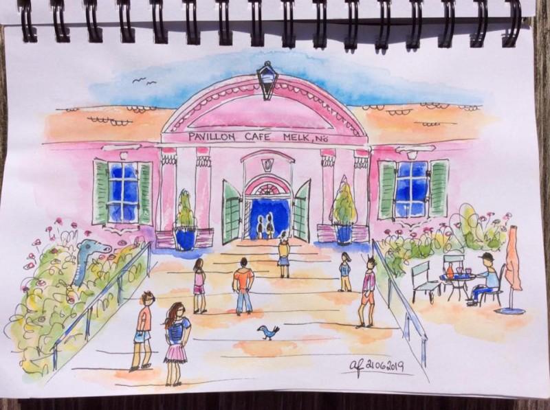 Sketching Pavilion Cafe Melk-1