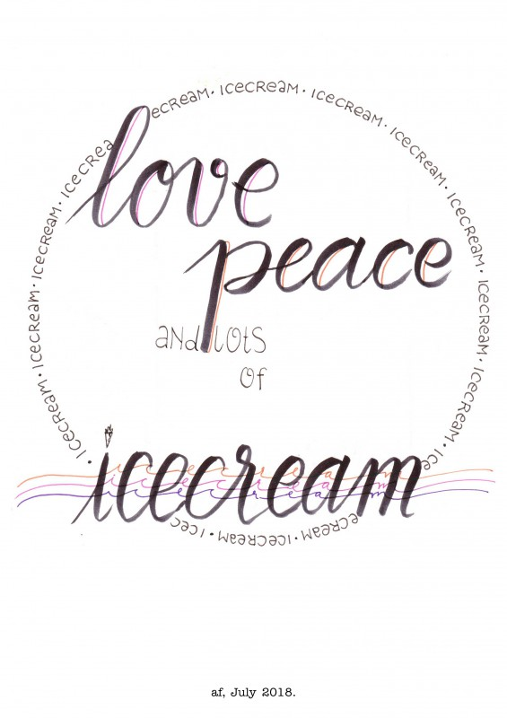 love peace and icecream - signed